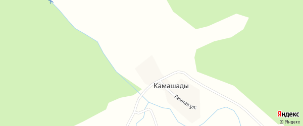 Речная улица на карте деревни Камашады с номерами домов