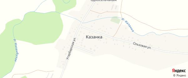 Утарбарская улица на карте деревни Казанки с номерами домов