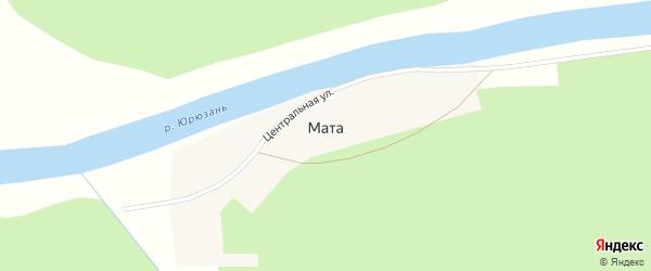 Центральная улица на карте деревни Маты с номерами домов
