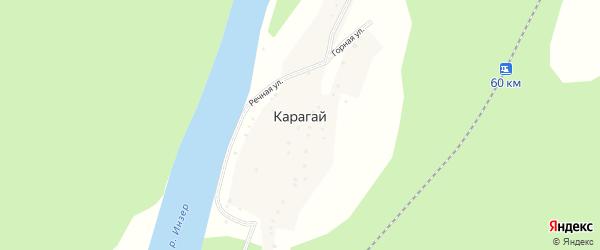 Речная улица на карте деревни Карагая с номерами домов