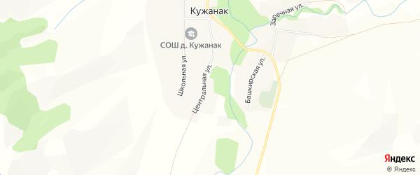 Карта деревни Кужанака в Башкортостане с улицами и номерами домов