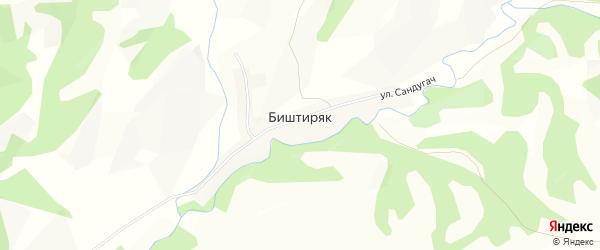 Карта деревни Биштиряка в Башкортостане с улицами и номерами домов