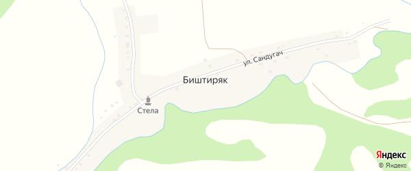 Улица Сандугач на карте деревни Биштиряка с номерами домов