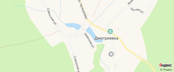 Заречная улица на карте деревни Дмитриевки с номерами домов