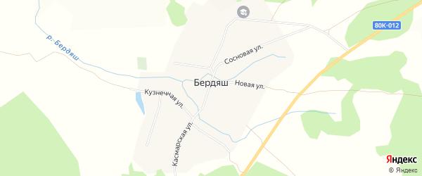 Карта села Бердяша в Башкортостане с улицами и номерами домов