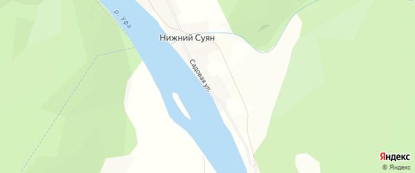 Карта села Нижнего Суяна в Башкортостане с улицами и номерами домов