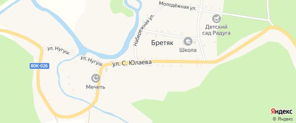 Улица Салавата Юлаева на карте деревни Бретяк с номерами домов