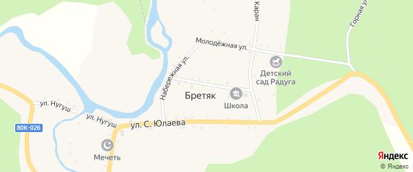 Заречная улица на карте деревни Бретяк с номерами домов