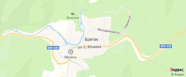 Карта деревни Бретяк в Башкортостане с улицами и номерами домов