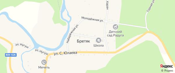 Школьная улица на карте деревни Бретяк с номерами домов
