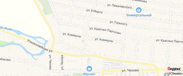Улица Коммуны на карте Аши с номерами домов