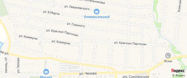 Улица Красных Партизан на карте Аши с номерами домов