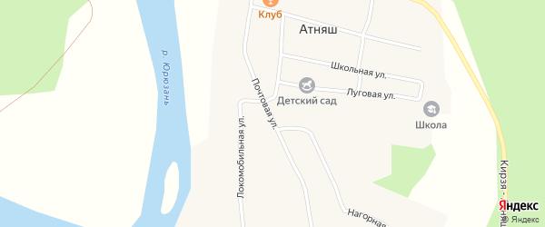 Почтовая улица на карте села Атняша с номерами домов