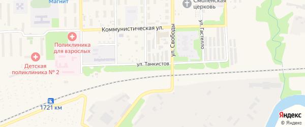 Улица Танкистов на карте Аши с номерами домов