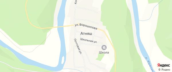 Карта села Атняша в Башкортостане с улицами и номерами домов