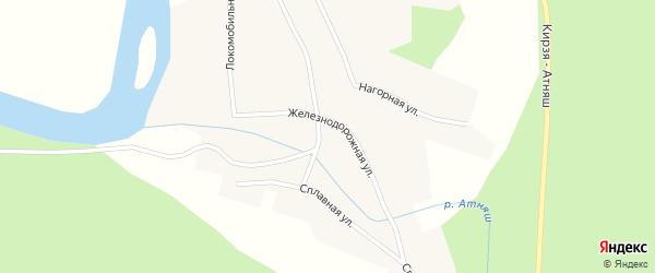 Железнодорожная улица на карте села Атняша с номерами домов