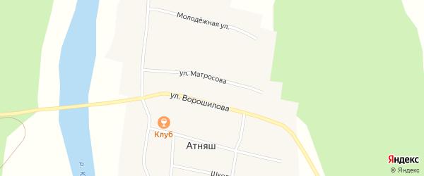 Улица Матросова на карте села Атняша с номерами домов