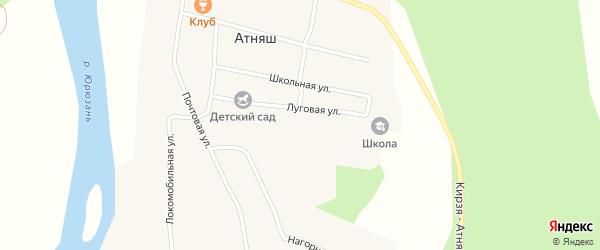 Луговая улица на карте села Атняша с номерами домов
