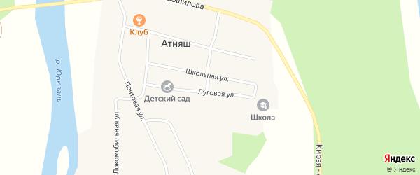 Школьная улица на карте села Атняша с номерами домов