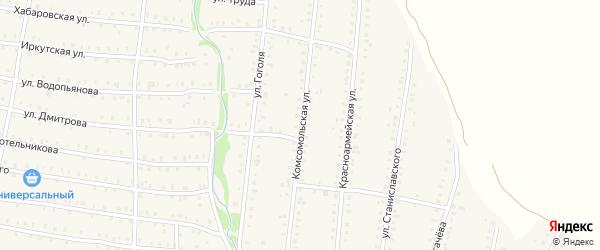 Комсомольская улица на карте Аши с номерами домов