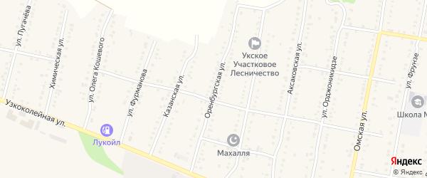 Оренбургская улица на карте Аши с номерами домов