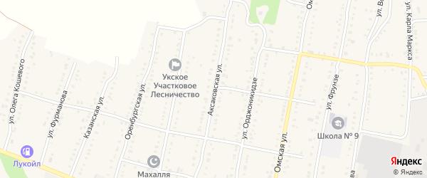 Аксаковская улица на карте Аши с номерами домов