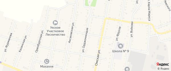 Улица Орджоникидзе на карте Аши с номерами домов