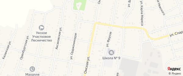 Омская улица на карте Аши с номерами домов