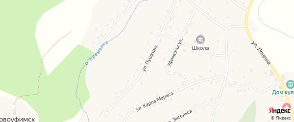 Улица Пушкина на карте поселка Ука с номерами домов