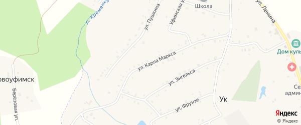 Улица Маркса на карте поселка Ука с номерами домов