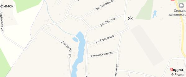 Вокзальная улица на карте поселка Ука с номерами домов