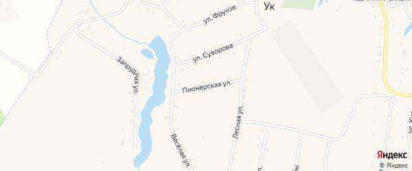 Пионерская улица на карте поселка Ука с номерами домов