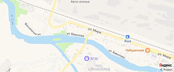 Улица Вавилова на карте Аши с номерами домов