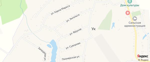 Улица Фрунзе на карте поселка Ука с номерами домов