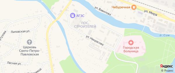 Улица Некрасова на карте Аши с номерами домов