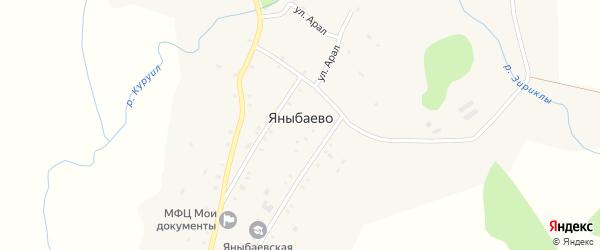 Заречная улица на карте деревни Яныбаево с номерами домов