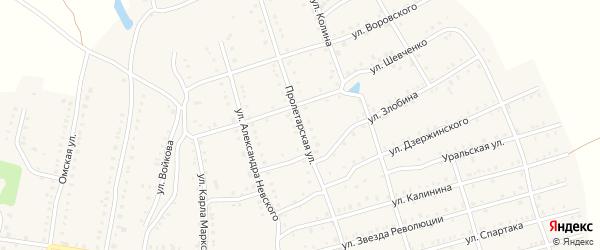 Пролетарская улица на карте Аши с номерами домов