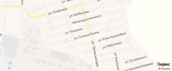 Улица Степана Разина на карте Аши с номерами домов