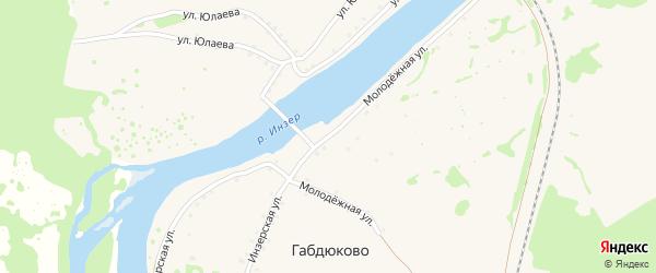 Инзерская улица на карте села Габдюково с номерами домов