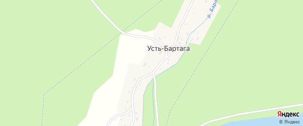 Лесная улица на карте деревни Усть-Бартага с номерами домов
