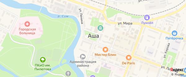Улица Зеленцова на карте Аши с номерами домов