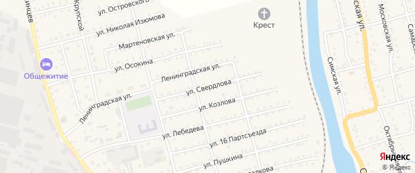 Улица Свердлова на карте Аши с номерами домов