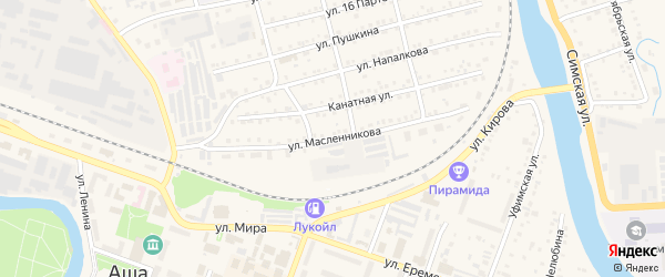 Улица Масленникова на карте Аши с номерами домов