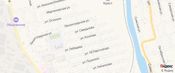 Улица Козлова на карте Аши с номерами домов