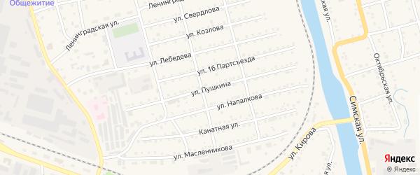 Улица Пушкина на карте Аши с номерами домов