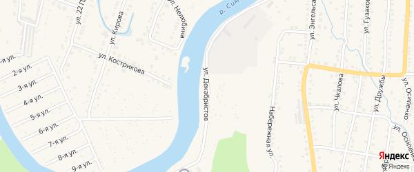 Улица Декабристов на карте Аши с номерами домов