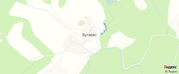 Карта деревни Бутаево в Башкортостане с улицами и номерами домов