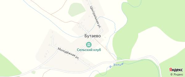 Молодежная улица на карте деревни Бутаево с номерами домов
