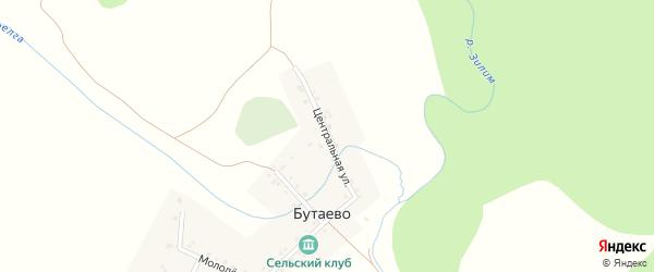 Центральная улица на карте деревни Бутаево с номерами домов