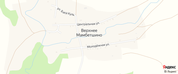 Центральная улица на карте деревни Верхнее Мамбетшино с номерами домов